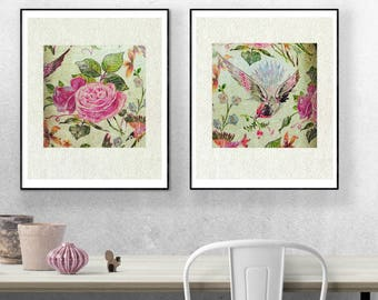 2 Set Birds, Roses, Flowers, Wall Art Print, Modern Vintage, botanical, antique, home decor, pink, shabby chic, romantic, digital print