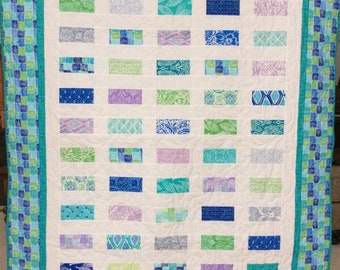 Lap quilt, throw quilt, baby quilt, Kate Spain quilt, Moda quilt