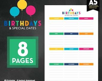 Birthday Calendar, Calendar, Birthday, Family Birthday Gift, Celebration Calendar, Birthday Reminder, Birthday Planner, Anniversary Calendar