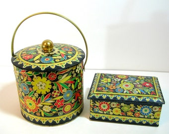 English Floral Tin Biscuit Canister And Matching Tin Box