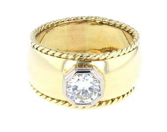 Etruscan Style Diamond Solitaire Ring
