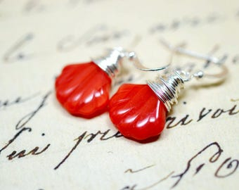 Red Sea Shell Earrings, Seashell Drops Cayenne Red Wire Wrap Silver, Bright and Vibrant Beach Jewelry