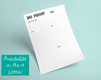 Printable Minimalist Black & White Day Planner -- Instant Digital Download