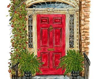 The Red Door - MOUNTED, Fine Art Print