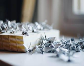 100 - Handmade Mini Origami Paper Cranes in Silver