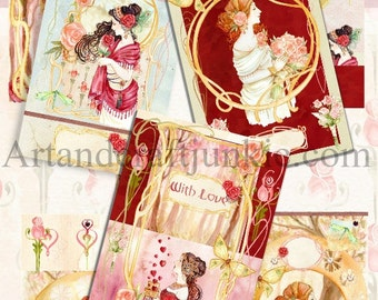 Digital Design Papers Journal Kit Nouveau Ladies. Instant Download