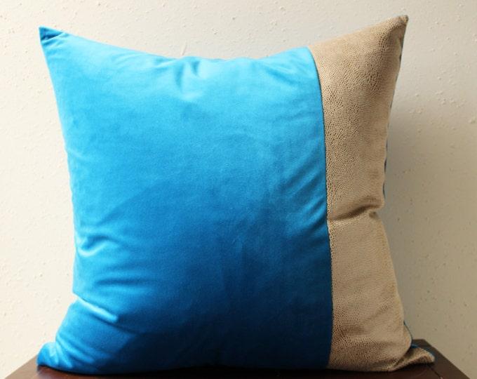 azure blue velvet pillow with tan snakeskin detail - COVER ONLY