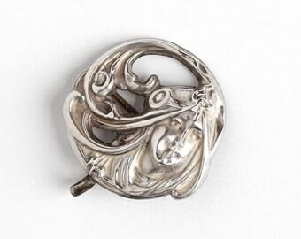Sale - Art Nouveau Brooch - Antique Sterling Silver Front Repoussé Woman Watch Pin - 1910s Edwardian Flowing Hair Lady Belle Époque  Jewelry