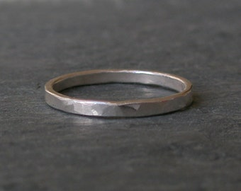 Sterling Silver Stacking Ring - Hammered Ring - 2mm Plain Band