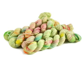 Mini Skeins, Hand Dyed Yarn, Sock Weight, Superwash Merino Wool Yarn, Knitting Yarn, Sock Yarn, Multi-colored, rainbow, green - Limeade