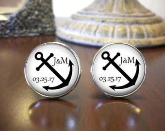 SALE! Personalized Anchor Cufflinks - Gift for Groom - Gift for Groomsman- Cyber Monday