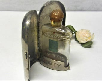 1920s Coty de Paris Perfume Bottle with Silver Metal Casket Perfume Holder Coty Fragrance