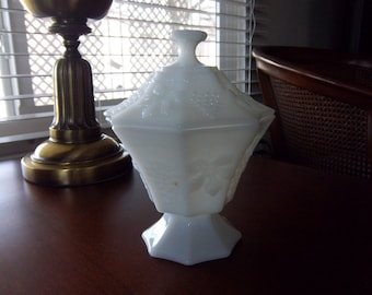 Octagon Milk Glass Covered Compote