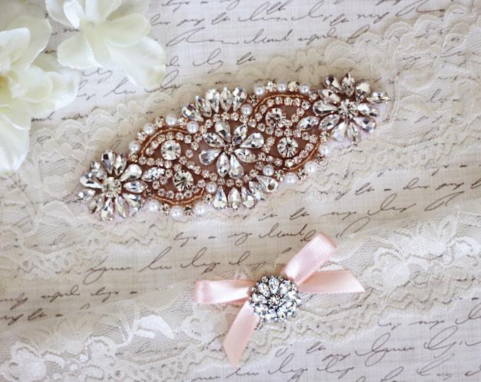 Rose gold wedding garter, Ivory Wedding Garter Set NO SLIP grip, IVORY A01RG-A*29