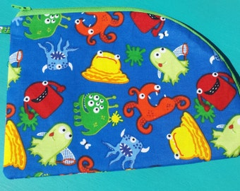 AH! Monsters! Zipper Pouch - Handmade