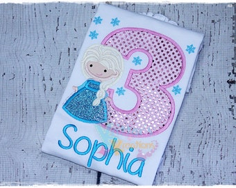Custom Elsa - Snow Queen - Frozen Inspired Birthday Embroidered Applique Shirt