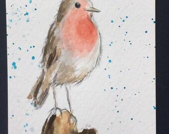 Robin ORIGINAL Miniature Watercolour, Bird wildlife, English Robin, ACEO, Watercolor,  For him, For her, Home Decor, Wall Art, Gift Idea