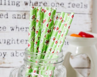 Green With Red Roses Paper Straws, Beautiful Straws for Wedding or Birthday Celebration, Green Straws, Rose, Paper Straws, Wedding Straws
