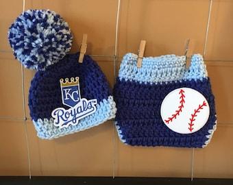 Baby Kansas City Royals hat, Kansas City Royals diaper cover, Newborn Kansas City Royals photo prop, boy or girl Royals baseball hat