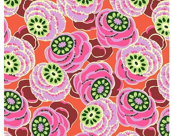 HALF YARD - Amy Butler Fabric, Dream Weaver, Clouded Floral, Persimmon, cotton quilting fabric