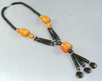 """Amber and Black Bead Necklace // Vintage // Carved Black 3 1/2"""" Beads // Fashionable // Modish // Intriguing"""