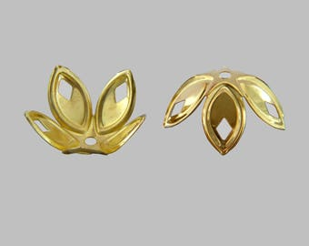 Bag of 40 caps beads spacer flower goldtone 18x8mm