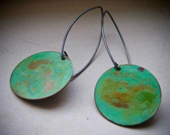 Weathered Verdigris Patina Circle Dangle Earrings