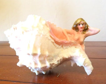 Mermaid resting in a natural Sea Shell Figurine