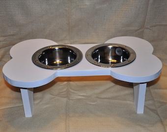 Dog bowl, Elevated dog bowl, dog feeder, bowl holder, gift - painted - white
