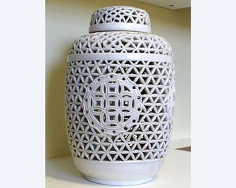 "Blanc de Chine Pierced Ginger Jar Ceramic Lamp Body Made in Hong Kong by KS Large 14 1/2"" Tall by 9"""