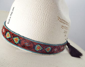 Beaded hat band, Wider style, horsehair hat band, Amazing colors, beaded Western horsehair hat band, Cowboy hat band, Rodeo hat band,