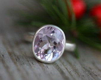 Size 6, Ready to Ship, Pink Amethyst ROCK Fetish Ring Sterling Silver Stone RIng