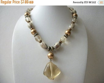 ON SALE Retro Earthy Marbleized Gold Tone Rustic Spacers Nugget Pendant Necklace 31017