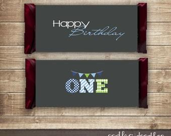 1st Birthday Candy Bar Wraps / Boy's First Birthday / Coordinating 1st Birthday Candy Bar Wrappers / Gray, Blue & Green -  Printable