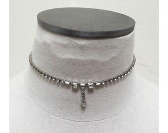 Vintage 1960s Silver & Crystal Rhinestone Choker Necklace