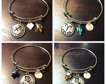 Zodiac Bangles with Birthstone Crystals