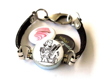 Magnetic Bracelet - Julia Child Jewelry Cupcake Bracelet Cook Mom Gift Leather Grandmother Jewelry What Would Julia Do Recycled by Polarity