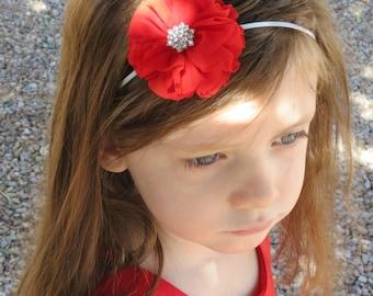 Flower Headband - Multiple Colors - Red Headband - Pink Headband -  White Headband - Cream Headband - Gray Headband - Infant Toddler Adult
