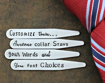 CUSTOM • COLLAR STAYS Four (4) Personalized Hand Stamped Stainless Steel Collar Stays