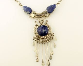 Vintage Sterling Silver and Lapis Lazuli Necklace, Boho, Hippie