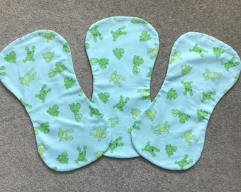 3 Burp Cloths - Frogs
