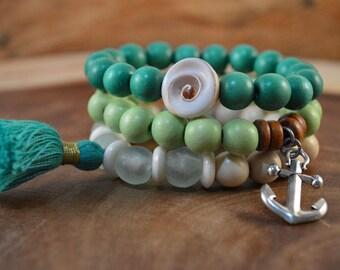 3 Bracelet Set, Wood Bead Bracelet, Wood Tassel Bracelet, Blue Bracelet, Beach Jewelry, Colorful Jewelry, Bohemian Jewelry
