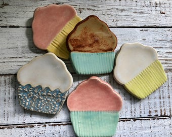 Made to Order- Cupcake Trinket dish - Tea Bag rest - Coffee Spoon rest - Jewelry Dish- ring holder- wedding and shower favors- tea light