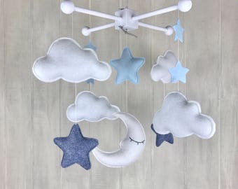Baby mobile - sleeping moon - grey and blue - baby mobiles - nursery decor - moon and stars - cloud mobile
