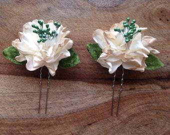 Shabby Flower Hairpins Vintage Velvet Leaves - Bridal, Bridesmaids Hair Accessories, Handmade