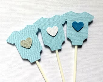 Baby Blue Cupcake Toppers - baby bodysuit, romper shape. Baby shower, blue with silver or white heart, gender reveal. Baby boy. Cupcake pick