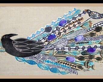 linocut, collage, ravens wedding,raven, wedding, bird, printmaking, textile art, floral collage, flower art, Mariann Johansen-Ellis,