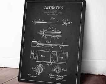 1932 Catheter Patent Canvas Art Print, Medical Patent, Wall Art, Home Decor, Gift Idea, ME68C