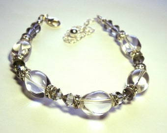 Black Diamond Swarovski Crystal and Quartz Sterling Silver Bracelet