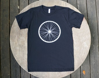 Giant Bicycle Wheel Screen Print American Apparel Men's Tee / Hipster Tshirt